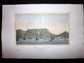 d'Urville 1835 Folio HC Print. Ships at Cape Town & Table Mountain, South Africa